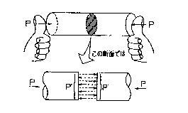 圧縮荷重の材料内部状態
